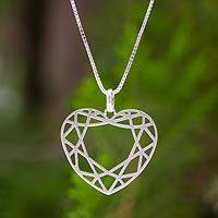 Sterling silver heart necklace, 'Web of Love' - Sterling silver heart necklace