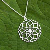 Sterling silver floral necklace, 'Puzzling Bloom' - Sterling silver floral necklace