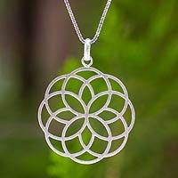 Sterling silver flower necklace, 'Blossoming Kaleidoscope' - Handmade Thai Floral Silver Pendant Necklace