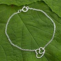 Sterling silver heart bracelet, 'Love Unites' - Sterling silver heart bracelet