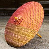Cotton parasol, 'Pink Thai Blessing' - Hand Made Cotton Parasol in Pink from Thailand