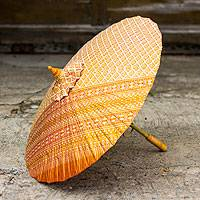 Cotton parasol, 'Golden Thai Blessing' - Artisan Crafted Cotton and Bamboo Parasol from Thailand