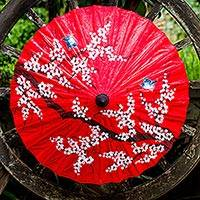 Saa paper parasol, 'Cherry Blossoms' - Patterned Parasol from Thailand