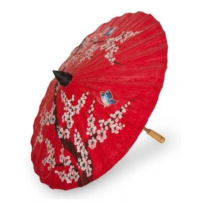 Saa paper parasol, 'Cherry Blossoms' - Thai Cherry Blossom Saa Paper and Bamboo Parasol