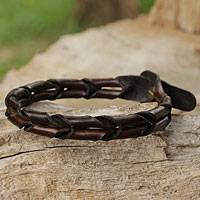 Men's leather wristband bracelet, 'World'