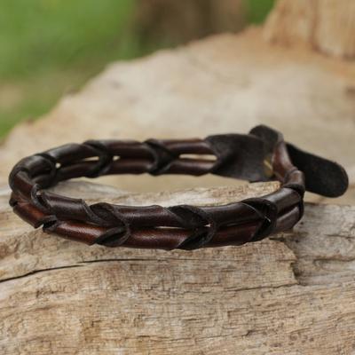 Men's leather wristband bracelet, 'World' - Men's Unique Braided Leather Bracelet