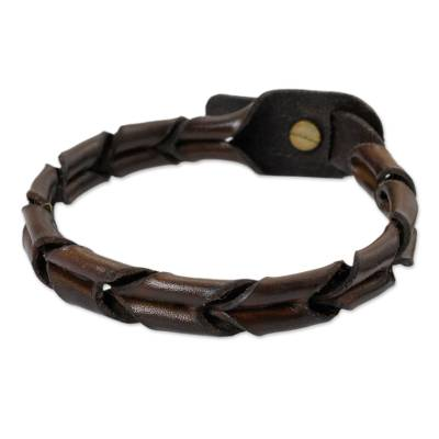 Men's leather wristband bracelet, 'World' - Men's Unique Braided Leather Bracelet