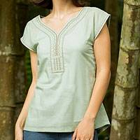 Cotton blouse, 'Feminine Aqua' - Cotton blouse