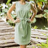 Cotton dress, 'Mellow Mint' - Cotton dress