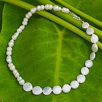 Cultured pearl strand necklace, 'Rising Lily'