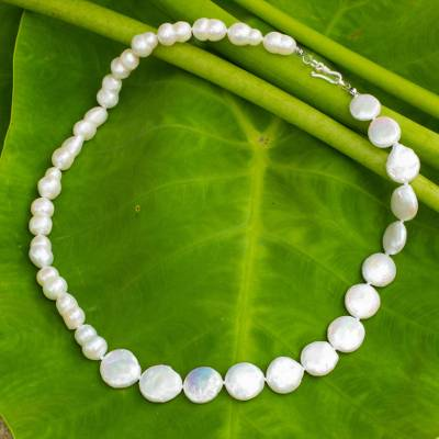 Cultured pearl strand necklace, 'Rising Lily' - Cultured pearl strand necklace