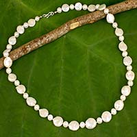 Cultured pearl strand necklace, 'White Lily'