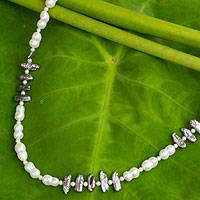 Cultured pearl strand necklace, 'Sweet Jasmine'