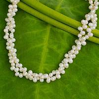 Cultured pearl strand necklace, 'White Peony' - Unique Cultured Oval Pearl Cluster Necklace