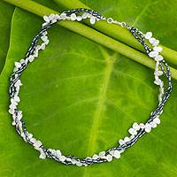 Cultured pearl strand necklace, 'Sweet Contrast' - Cultured pearl strand necklace