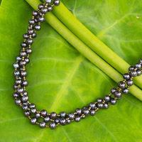 Cultured pearl strand necklace, 'Golden Starlight' - Handcrafted Dark Gray Pearl Beaded Necklace