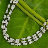 Cultured pearl strand necklace, 'Madame Peony' - Cultured pearl strand necklace