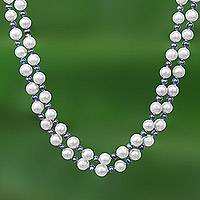 Cultured pearl long strand necklace, 'Dusky Rose' - Fair Trade Cultured Pearl Necklace from Thailand