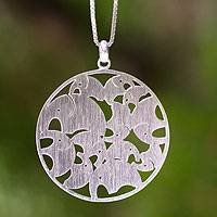 Sterling silver pendant necklace, 'Dancing Elephants' - Sterling Silver Pendant Necklace