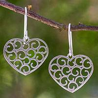 Sterling silver heart earrings, 'Thai Love' - Sterling silver heart earrings