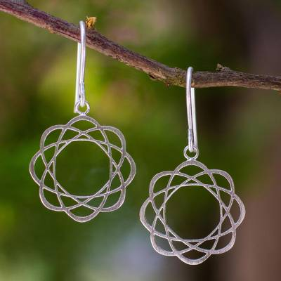 Sterling silver flower earrings, 'Blossoming Atoms' - Sterling silver flower earrings