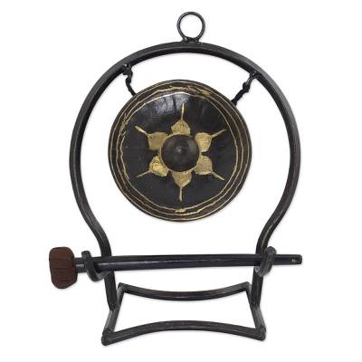 Iron and brass gong, 'Thai Harmony' (medium) - Iron and brass gong (Medium)