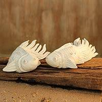Wood sculptures, 'Cheerful Goldfish' (pair) - Rain Tree Fish Sculptures
