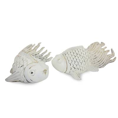 Wood sculptures, 'Cheerful Goldfish' (pair) - Wood sculptures (Pair)
