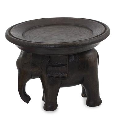 Wood tray, 'Majestic Elephant' - Wood tray