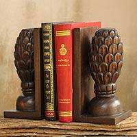 Wood bookends, 'Trees of Knowledge' (pair) - Hand Crafted Thai Rain Tree Wood Bookends