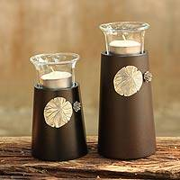 Wood and pewter candleholders, 'Lotus Light' (pair) - Wood and pewter candleholders (Pair)
