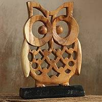 Wood sculpture, 'Adorable Owl' - Hand-carved Wood Sculpture