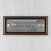 Aluminum repousse panel, 'Royal Barge on Parade II' - Aluminum repousse panel