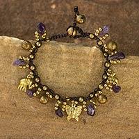 Amethyst charm bracelet, 'Lavender Siam' - Amethyst and Brass Beaded Charm Bracelet