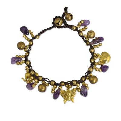 Amethyst and Brass Beaded Charm Bracelet