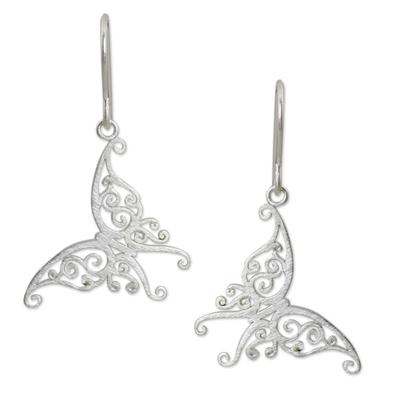 Sterling silver dangle earrings, 'Thai Chrysalis' - Handmade Butterfly Earrings Sterling Silver Jewelry
