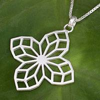 Sterling silver flower necklace, 'Blossoming Star' - Sterling Silver Necklace Handmade Jewelry