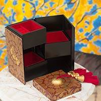 Wood jewelry box, 'Red Secret Palace' - Handcrafted Thai Red and Gold Wood jewellery Box