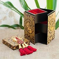 Wood jewelry box, 'Secret Palace' - Wood jewelry box