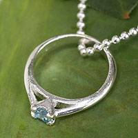 Blue topaz pendant necklace, 'Promise of Love' - Blue Topaz Ring-pendant on Silver Necklace from Thailand