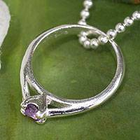 Amethyst pendant necklace, 'Promise of Love' - Amethyst Ring-pendant on Silver Necklace from Thailand