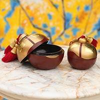 Mango wood boxes, 'Chiang Mai Wine' (pair) - Decorative Wood Boxes Wine with Gold (Pair)