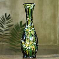 Lacquered wood decorative vase, 'Bamboo Forest' - Thai Lacquered Wood Decorative Vase Handpainted Bamboo