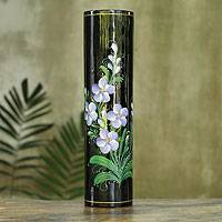 Lacquered decorative wood vase, 'Vanda Orchid' - Thai Lacquered Wood Decorative Vase Hand Painted Orchids