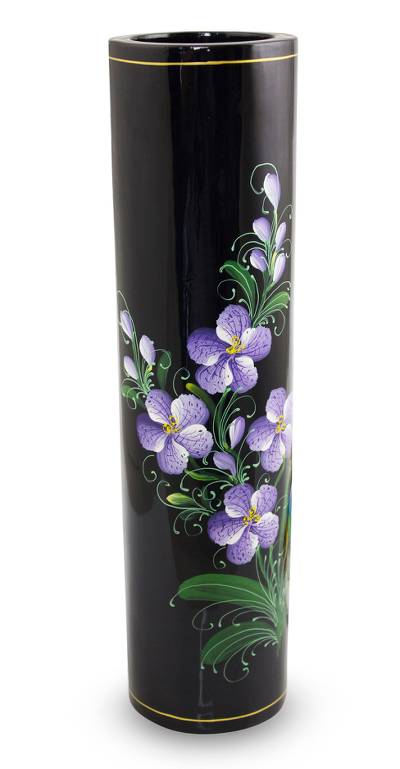 lacquered decorative wood vase vanda orchid thai lacquered wood decorative vase hand - Decorative Vases