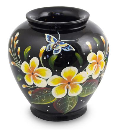 Lacquered wood decorative vase, 'Oriental Plumeria' - Thai Lacquered Wood Decorative Vase Handpainted Plumeria