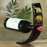 Lacquered wood wine bottle holder, 'Golden Lotus' - Lacquered Wood Elephant Wine Bottle Holder