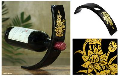Lacquered wood wine bottle holder, 'Golden Lotus' - Gold Leaf Black Lacquered Wood Wine Bottle Holder
