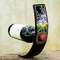 Lacquered wood wine bottle holder, 'Regal Orchid' - Handcrafted Floral Wood Wine Bottle Holder