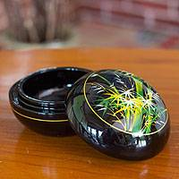 Lacquered wood box, 'Whispering Bamboo' - Thai Lacquered Wood Round Decorative Box Handpainted Bamboo